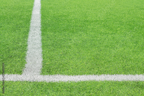Obraz Marking white paint on a green grass of the football field. - fototapety do salonu