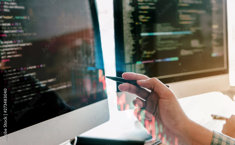 Fototapeta programming and coding technologies. Website design. Programmer working business in software develop company office screen computer background