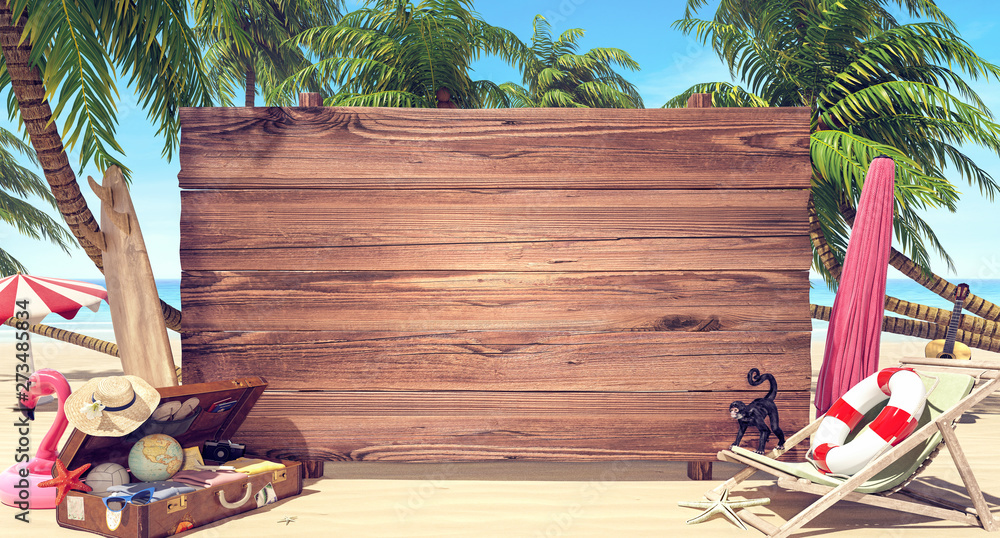 Fototapety, obrazy: Empty wooden board on the beach, Summer time background 3D Rendering