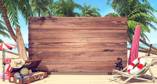 Empty wooden board on the beach, Summer time background 3D Rendering