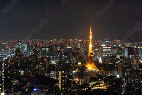 Spoed Foto op Canvas Tokyo Night streets of Tokio from the view point fo Rapongi hills