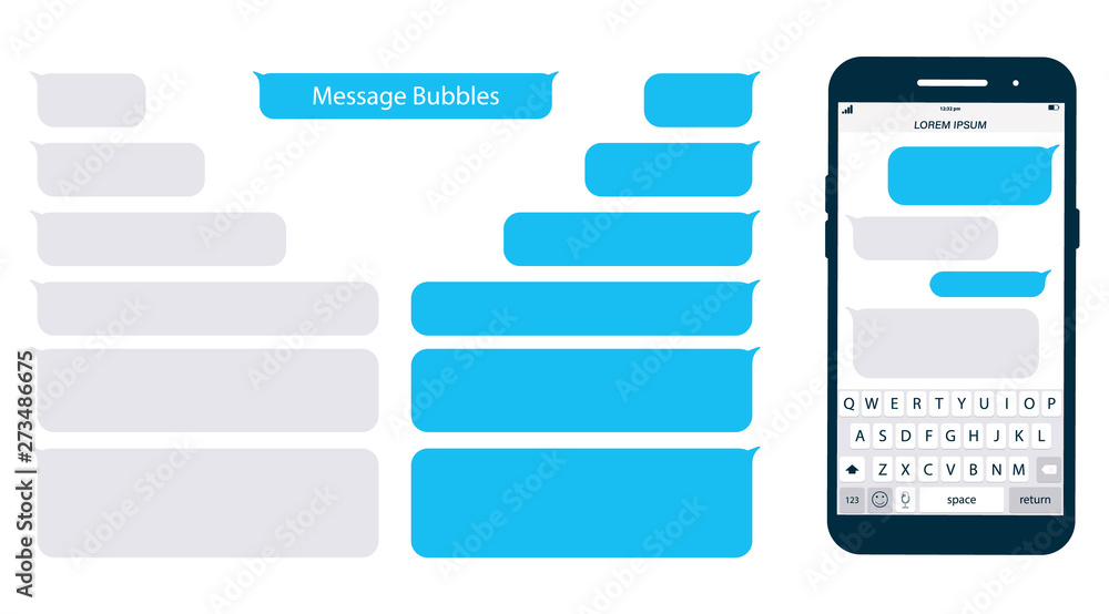 Fototapeta Smartphone, chatting sms app template bubbles. Place your own text to the message clouds. Social network messenger page template. Chat app template with mobile keyboard. Message Flat Bubbles