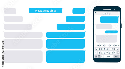 Photo Smartphone, chatting sms app template bubbles