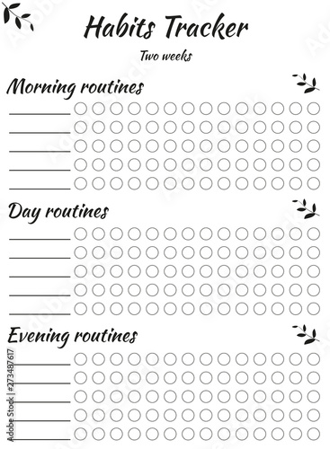 Habits tracker divided into three parts - morning day and evening for ease of use Canvas Print