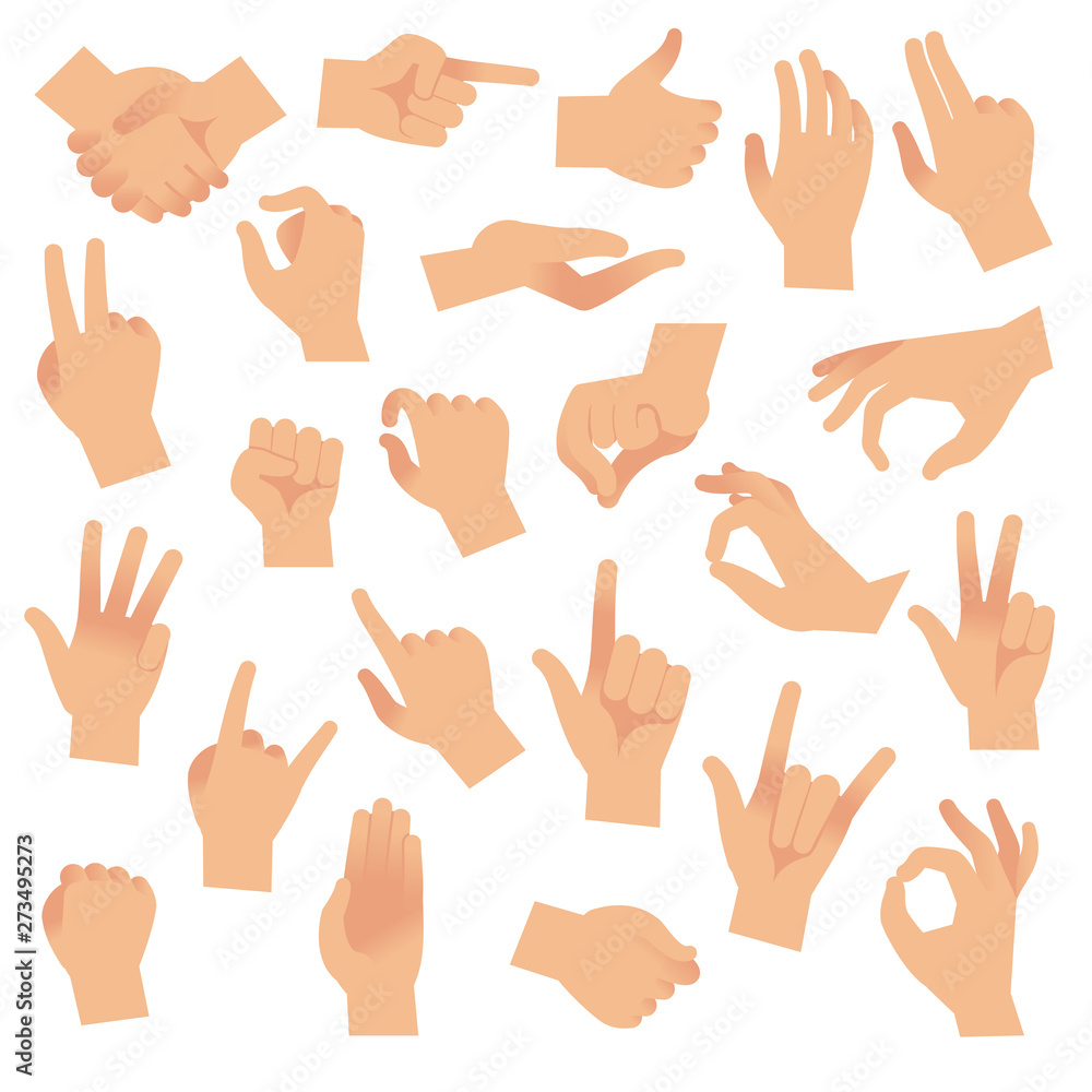 Fototapeta Gesturing hands. Hand with counting gestures, forefinger sign. Open arm showing signal, interactive communication vector set