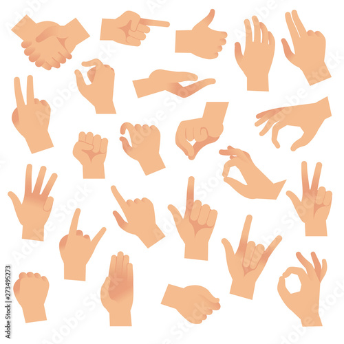 Gesturing hands. Hand with counting gestures, forefinger sign. Open arm showing signal, interactive communication vector set