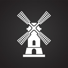Wind Mill Icon On Background For Graphic And Web Design. Simple Illustration. Internet Concept Symbol For Website Button Or Mobile App.