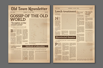 Vintage newspaper. News articles newsprint magazine old design. Brochure newspaper pages. Paper retro journal vector grunge template