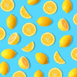 Leinwandbild Motiv Summer fruit pattern of lemons and lemon slices on a bright blue background