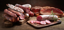 Various Kind Types Of Salami, Speck And Sausages