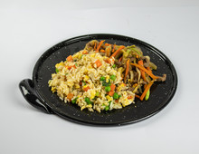 Fried Rice And Chop Suey Plate For Menu