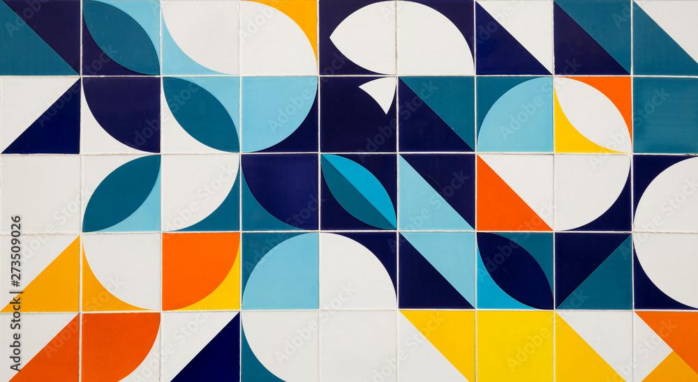 Fototapety, obrazy: Mid century modern pattern ceramic tiles in Rio de Janeiro, Brazil