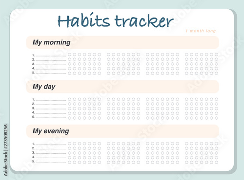 Photo  Vector habits tracker page design template calendar  for month