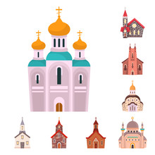 Vector Illustration Of Religion And Building Icon. Collection Of Religion And Faith Vector Icon For Stock.