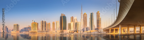 Panoramic view of Dubai Business bay, UAE Canvas Print