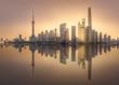 Sunrise view of Shanghai skyline with sunshine