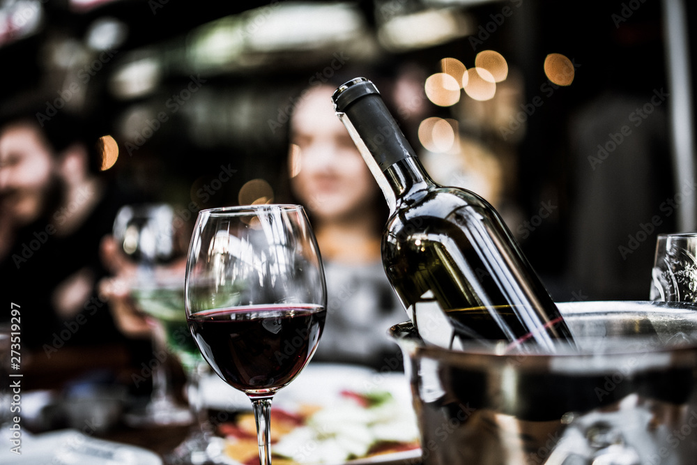 Fototapety, obrazy: red wine on open air restaurant cafe romantic joyful young adults table