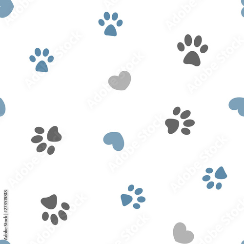 obraz lub plakat Gray and blue paws and hearts on white background seamless pattern.