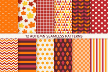 Autumn Pattern. Vector. Seamless Background With Fall Leaves. Set Seasonal Geometric Wallpapers. Colorful Cartoon Illustration In Flat Design. Abstract Texture.