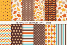 Autumn Pattern. Vector. Seamless Background With Fall Leaves, Polka Dot, Zig Zag And Stripes. Set Seasonal Geometric Textures. Colorful Cartoon Illustration In Flat Design. Abstract Wallpaper.