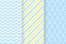 Baby Boy Pattern. Baby Shower Seamless Backgrounds. Vector. Set Blue Pastel Patterns For Invitation, Invite Templates, Cards, Birth Party, Scrapbook In Flat Design. Cute Illustration.
