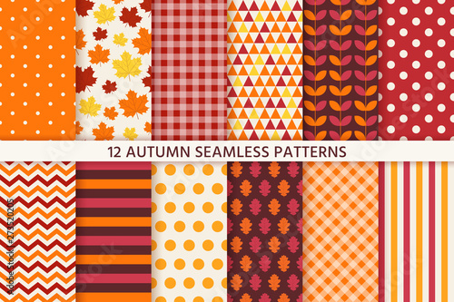 Obraz Autumn pattern. Vector. Seamless background with fall leaves. Set seasonal geometric wallpapers. Colorful cartoon illustration in flat design. Abstract texture. - fototapety do salonu