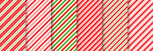 Cane Candy Pattern. Vector. Christmas Seamless Background. Stripes Diagonal Red Green Wrapping Paper. Abstract Texture. Holiday Traditional Peppermint Backdrop. Sugar Lollipop Illustration.
