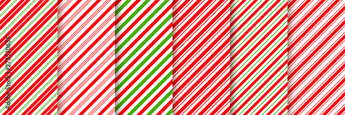 obraz PCV Cane candy pattern. Vector. Christmas seamless background. Stripes diagonal red green wrapping paper. Abstract texture. Holiday traditional peppermint backdrop. Sugar lollipop illustration.