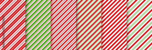 fototapeta na ścianę Cane candy pattern. Vector. Christmas stripes seamless background. Diagonal red green peppermint backdrop. Holiday traditional wrapping paper. Abstract texture. Sugar lollipop illustration.