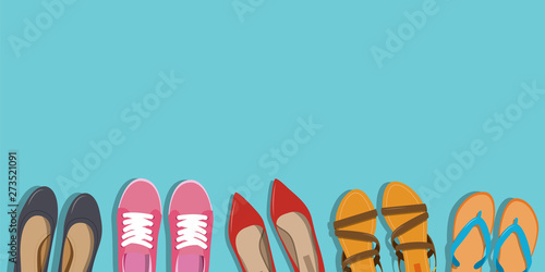 Photo  Men's and Women's shoes background