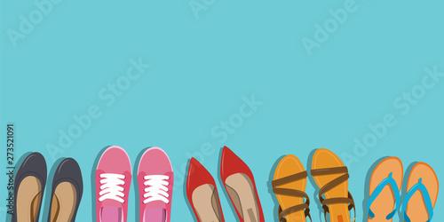 Fotografia, Obraz  Men's and Women's shoes background