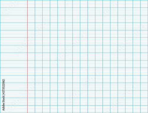 Texture of a blank page of a school notebook Canvas Print