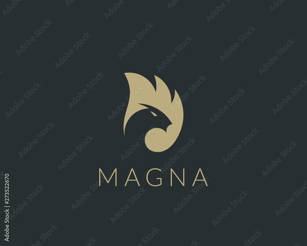 Fototapety, obrazy: Dragon fire wing vector logo. Animal head negative space logotype.