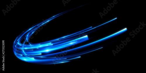 Dynamic lights circle shape on dark background. Bright luminous glowing circle. High speed optical fiber concept. 3d rendering - 273523091
