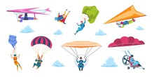 Cartoon Skydivers. Paraglider Skydivers, Flat Falling Characters With Parachutes, Extreme Adrenaline Sport. Vector Isolated Professional And Hobbies Sky Jump Set