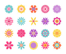 Cartoon Flower Icons. Cute Summer Stickers And Nature Pattern, Retro Daisy Clip Art Set. Vector Modern Stylized Pink And Yellow Flower Set