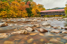 Swift River And Old Covered Albany Bridge At Autumn In White Mountain National Forest, New Hampshire, USA. Fall In New England.