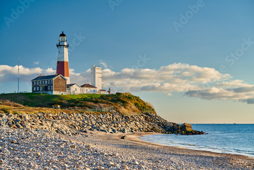 Photo sur Toile Beige Montauk Lighthouse and beach, Long Island, New York, USA.