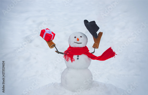 Snowman isolated on snow background Wallpaper Mural