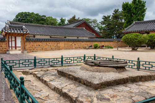 Courtyard and traditional building facades of the korean Gyeongju Hyanggyo Confucian School Tablou Canvas
