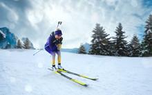 Biathlon. Skier Biathlon Champ...