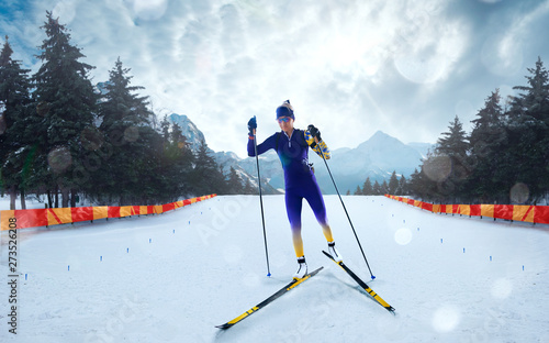 Poster Glisse hiver Biathlon. Skier biathlon champion. Winter Olympic sports.