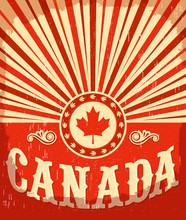 Canada Vintage Old Poster With Canadian Flag Colors, Vector Design