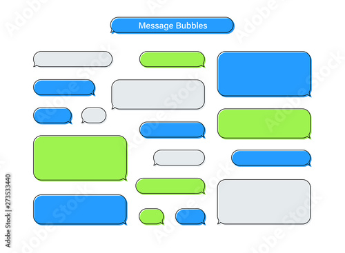 Photo Message chat bubbles vector icons for messenger