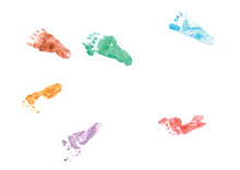 Colorful Footprints Of A Four Month Old Baby - Looking Forward Into The Future