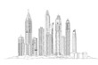 Dubai. Skyscrapers of the Dubai Marina. Sketch collection illustration