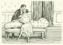 Lovers Sofa Room Retro Art Nouveau Lady And Gentleman Tenderness Feelings