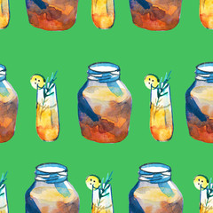 Pattern with Kombucha in a bottle, glasses and a jar. Strawberries and oranges. Healthy food.