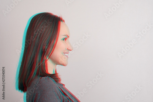 Close-up of young girl in profile,anaglyph effect, glitch Wallpaper Mural