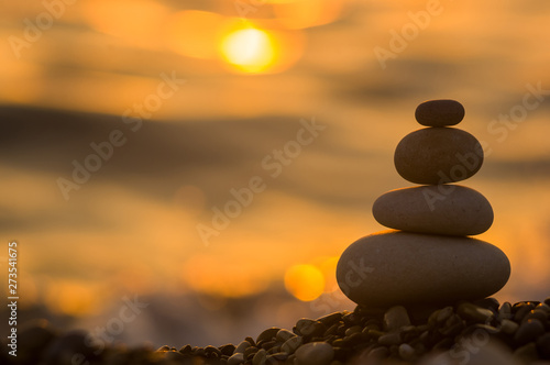 Photo stack of zen stones on pebble beach